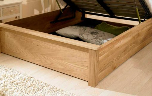 Emperor Solid Oak Ottoman Bed Inside