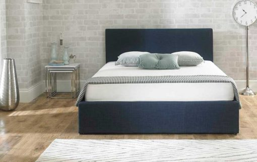 Lucca Fabric Ottoman Bed Chambray Blue