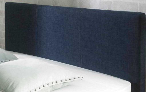 Lucca Fabric Ottoman Bed Chambray Blue Headboard