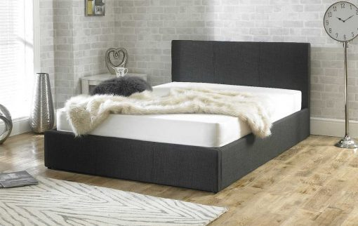 Lucca Fabric Ottoman Bed Charcoal