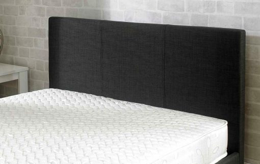 Lucca Fabric Ottoman Bed Charcoal Headboard