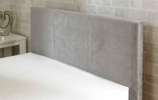 Lucca Fabric Ottoman Bed Stone Headboard