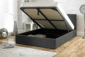 Lucca Fabric Ottoman Bed Charcoal Open