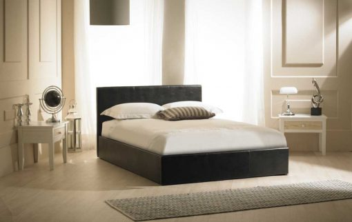 Visage Faux Leather Ottoman Bed Black