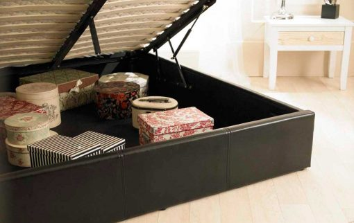 Visage Faux Leather Ottoman Bed Brown Inside