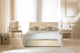 Visage Faux Leather Ottoman Bed Ivory