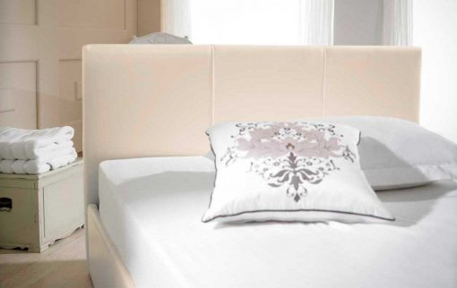 Visage Faux Leather Ottoman Bed Ivory Headboard