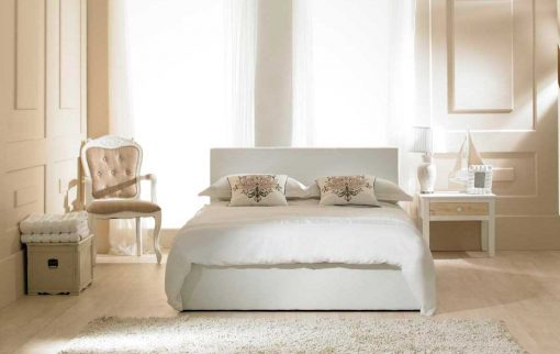 Visage Faux Leather Ottoman Bed White