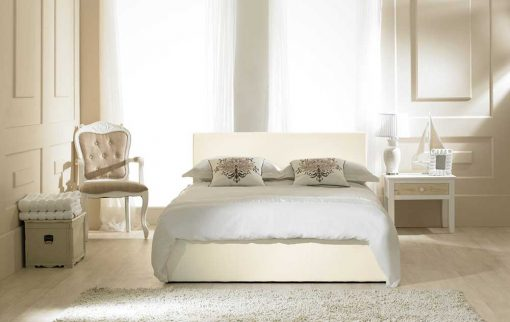 Visage Faux Leather Ottoman Bed Cream