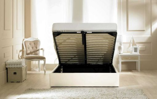 Visage Faux Leather Ottoman Bed Cream Open