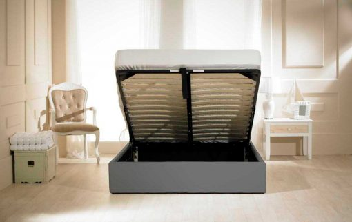 Visage Faux Leather Ottoman Bed Grey Open