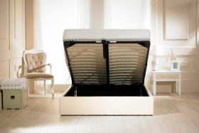 Visage Faux Leather Ottoman Bed Ivory Open