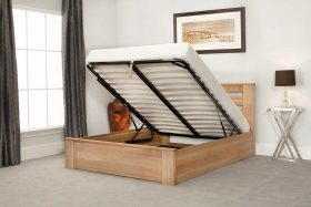 Charnwood Oak Ottoman Bed Open