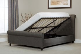 Barcelona Fabric Ottoman Bed Grey Open