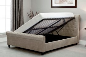 Barcelona Fabric Ottoman Bed Stone Open