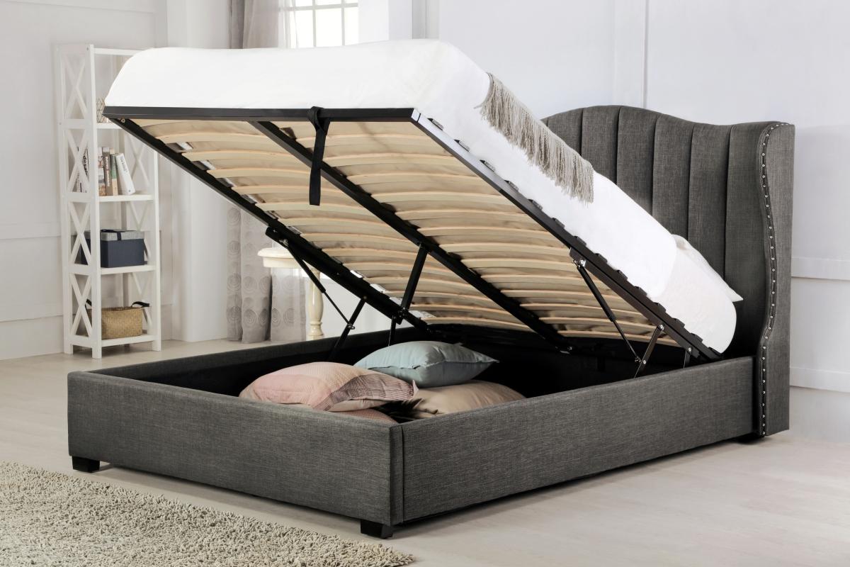 Terrific Hallaton Grey Fabric Ottoman Super King Size Bed Theyellowbook Wood Chair Design Ideas Theyellowbookinfo