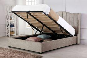 Hallaton Fabric Ottoman Bed Stone Open