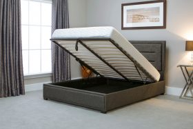 Javea Fabric Ottoman Bed Grey Open