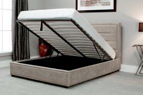 Javea Fabric Ottoman Bed Stone Open