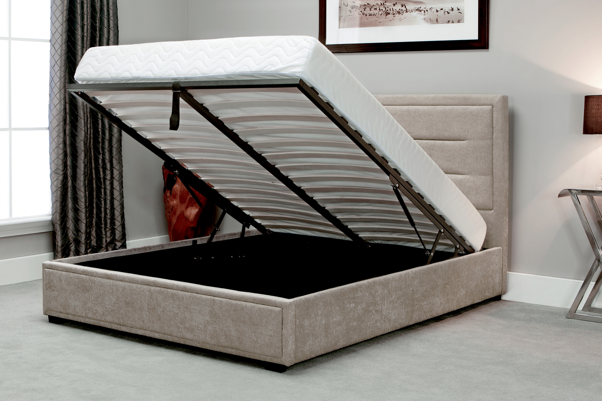Picture of: Javea Fabric Ottoman Bed With High Headboard Modern Design Narborough Beds