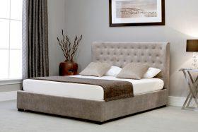 Marbella Fabric Ottoman Bed Stone