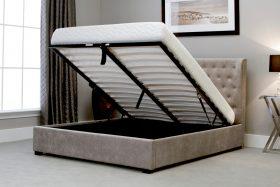 Marbella Fabric Ottoman Bed Stone Open