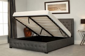 Oakham Fabric Ottoman Bed Grey Open