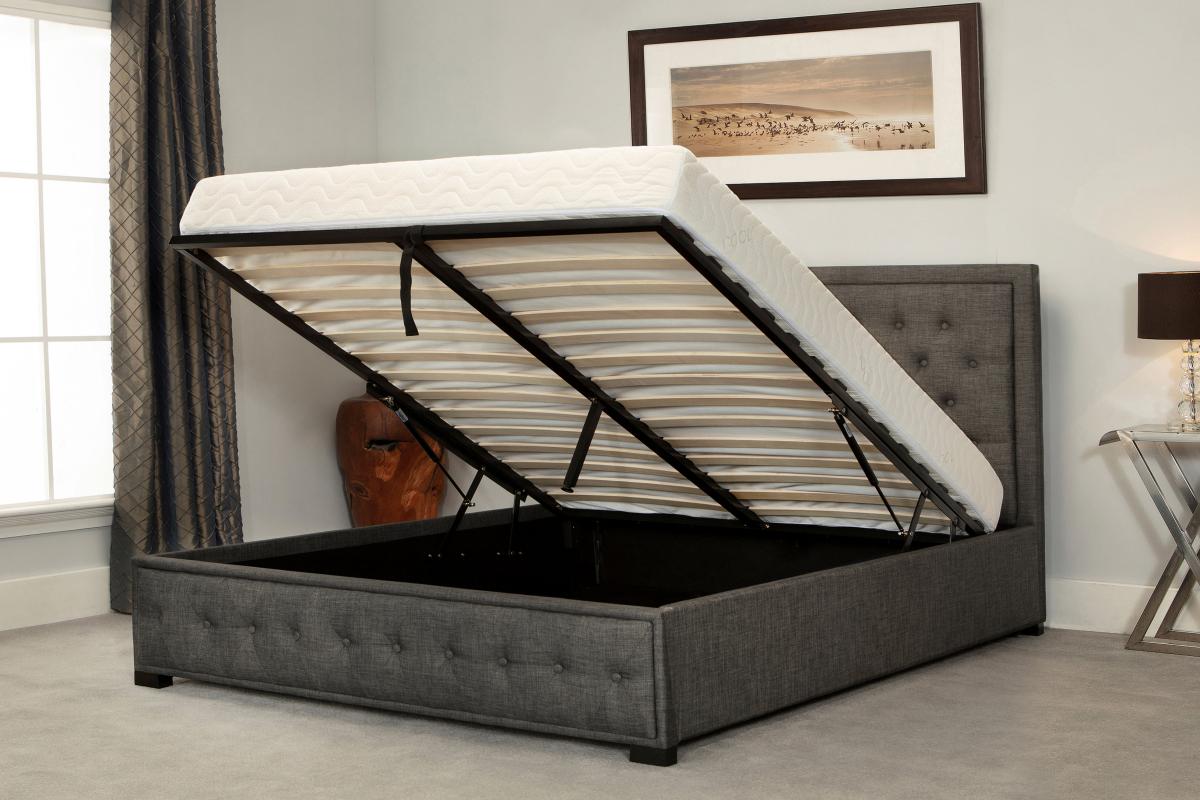 Outstanding Oakham Grey Fabric Ottoman Super King Size Bed Inzonedesignstudio Interior Chair Design Inzonedesignstudiocom